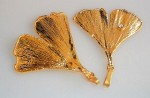 whole leaf from gingko,  gold plated , solo