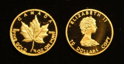 goldcoins dummy canada 10 $ maple leaf 1/4 oz