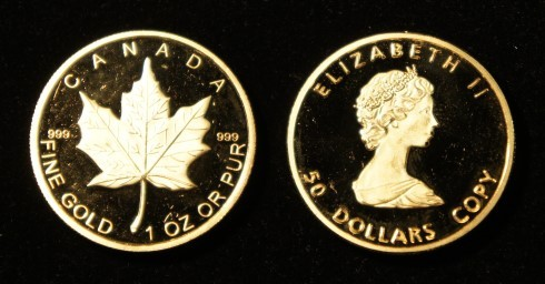 goldcoins dummy canada 50 $ maple leaf 1 oz